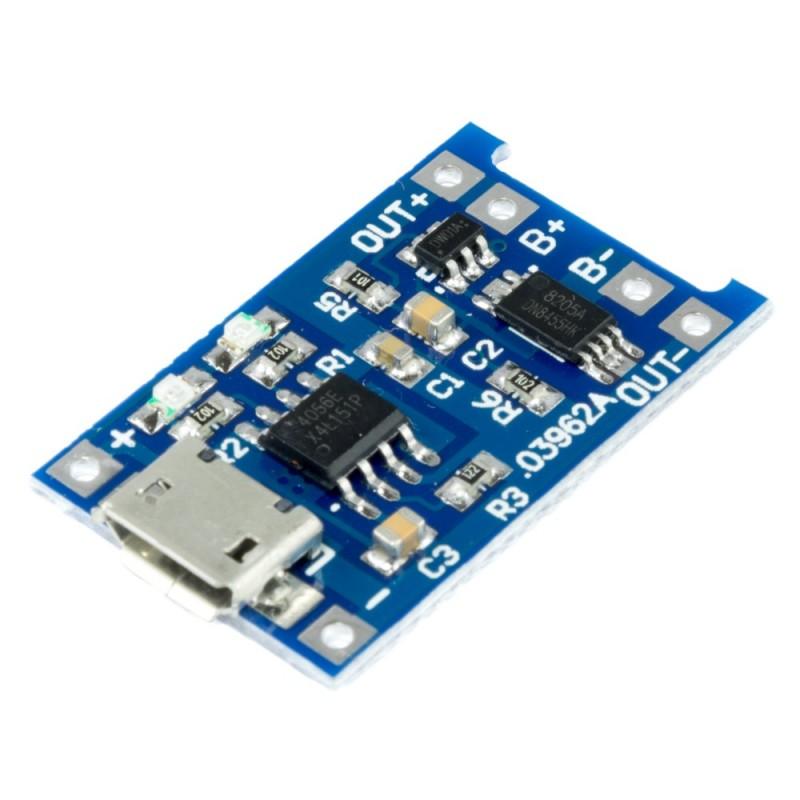 Cargador USB de batería litio 18650 1A con protección