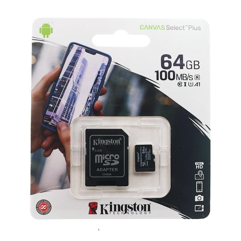 Memoria micro SD card 64GB Kingston Clase 10 A1 100MB/s