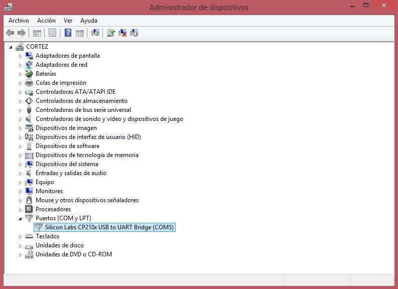 Puerto serial COM del CP2102