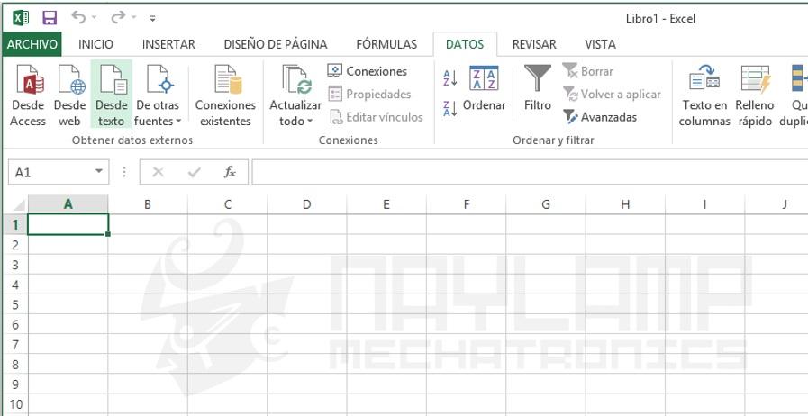 Excel opcion importar desde texto