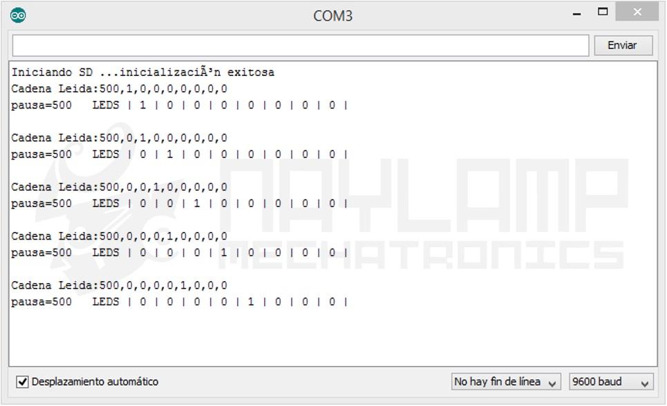 Monitor Serial secuencia de Leds SD