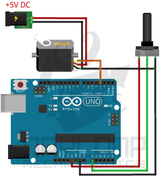 Conexion servo con arduino y potenciometro
