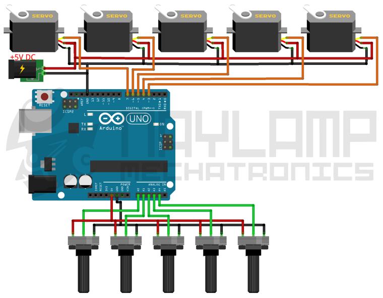 conexion arduino con varios servos, con potenciometros