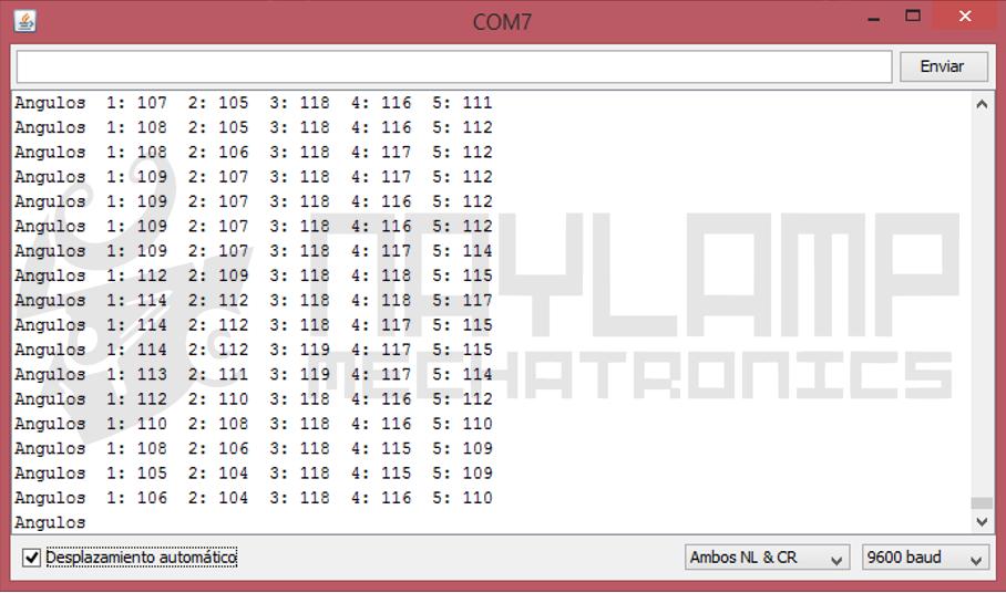 Monitor serial arduino , angulos servomotores
