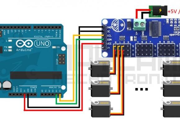 Tutorial Módulo Controlador de servos PCA9685 con Arduino